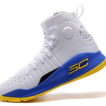 Under Armour UA Men s SC30 Stephen Curry 4 White Blue Gold Sport 4f0ca7dee