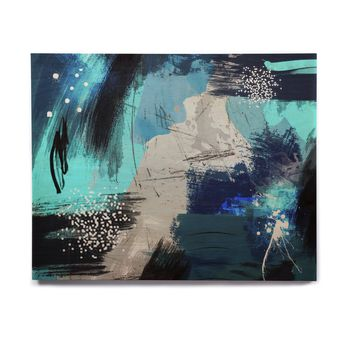 "Li zamperini ""In My Mind"" Blue Gray Abstract Contemporary Digital Painting Birchwood Wall Art"