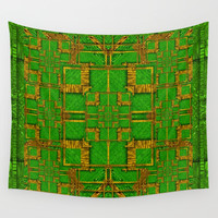 golden green and  sunshine pop-art Wall Tapestry by Pepita Selles
