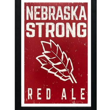 """Nebraska Strong Red Ale Craft Beer Poster - Red - 13x19"""""""