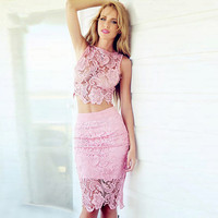 Women's Fashion Lace Set Slim Vest Skirt Bottom & Top [4919735428]
