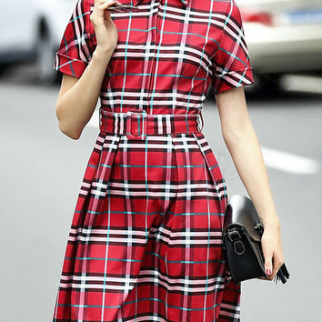 Red Plaid Collar Short Sleeve Skater Mini Dress with Belt