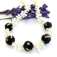 Tribal African Batik Bone Bead Necklace, White Coral Handmade Artisan Jewelry
