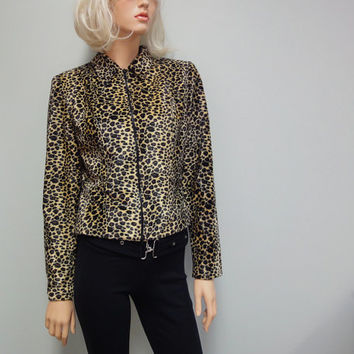 Vintage 80s Leopard Jacket, Faux Fur Cropped Motorcycle Style Size 6