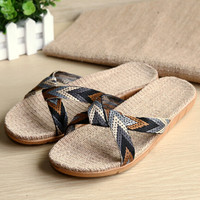 Linen Slipper Mens Beach Shoes Camouflage Sandals
