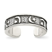 Sterling Silver Antiqued Moon & Star Toe Ring