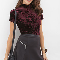 Velveteen Mock Neck Top