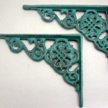 Wall Bracket Cast Iron Shelf Ornate Brace Aqua Turquoise Decorative 1 Pair (2 individual brackets) Shabby Chic Decor