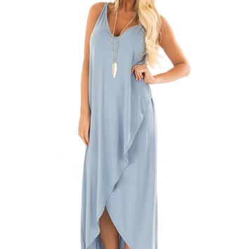 Dusty Blue High Low Dress with Criss Cross Strap Back
