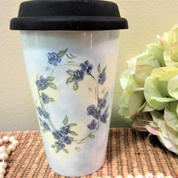 Mug Travel  Coffee Tea Blue Flowered insulation Porcelain Ceramic Pottery Hand Painted blm