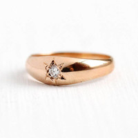 Antique Diamond Ring - 14k Rose Gold Gypsy Star Set Genuine Diamond Midi - Vintage Size 1 1/4 Petite Child's Brilliant Cut Fine Jewelry