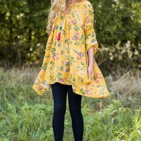 Wind Song Goldenrod Yellow Floral Print Tunic Top