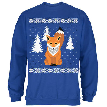 Big Fox Ugly Christmas Sweater Royal Adult Sweatshirt