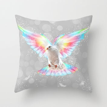 The Key is to Believe in the Impossible (Neon Wings Series III) Throw Pillow by soaring anchor designs ⚓