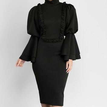 Chic High Neck Flare Sleeve Frill Trim Pencil Dress