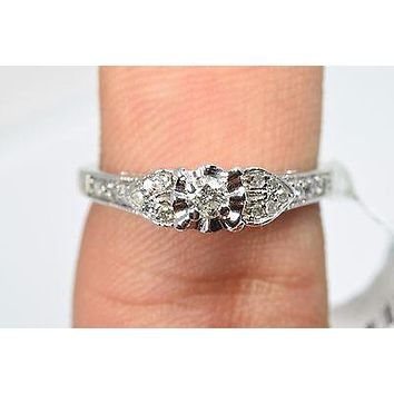 10k Gold Solitaire Diamonds Side Hearts Engagement Ring Sizable 7.25 Brand UD