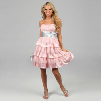 Blondie Nites Juniors Pink Glittery Tiered Strapless Dress | Overstock.com