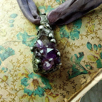 Amethyst Crystal Pendant - OOAK Magical - Perfect for February Birthday Gift