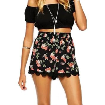 Women Summer Floral Printing Elastic High Waist Lace Shorts Casual Straight Loose Short Pants Plus Size