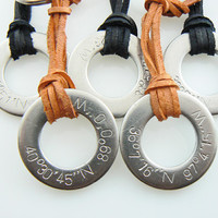 GPS Coordinates Family Set of 5pcs Hand Stamped Silver  Latitide & Longitude -  Key Chain, Key Holder