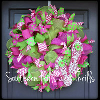 Deco Mesh Wreath-Summer Wreath-Mesh Wreath-Wreaths & Door Hangers-Outdoor Wreath-Flip Flop Wreath-Summer Mesh Wreath-Front Door Wreath