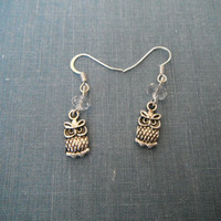 Tiny Sweet Silver Owl with Crystal Bead Earrings Owls French Hook Silver Plate Gift fashion under 20