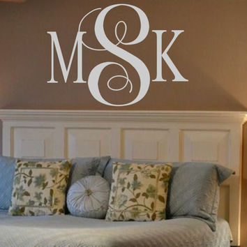 Wall Initials Captivating Personalized Monogram Vinyl From Landbgraphics On Design Ideas