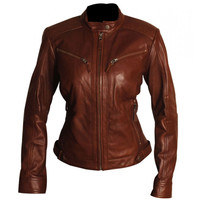 Women's cafe racer leather jacket