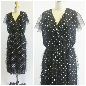 Vintage Black and White Polka Dot Dress by Albert Nipon for Saks Fifth Avenue