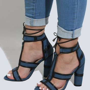 Leather & Denim Heels - Size 5.5 Shoes