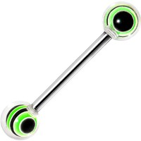 Clear Green Gremlin Racing Stripe Barbell Tongue Ring