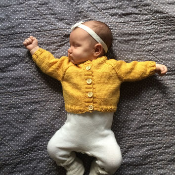 Wool Cardigan Sweater/Baby Girl/ Size 1 Month - 12 Months /Knit/ Mustard Yellow/Green/ Pink/ Blue/ Cream/ Red/ Purple