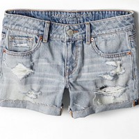 AEO Women's Destroyed Midi Short (Light Destroy Wash)