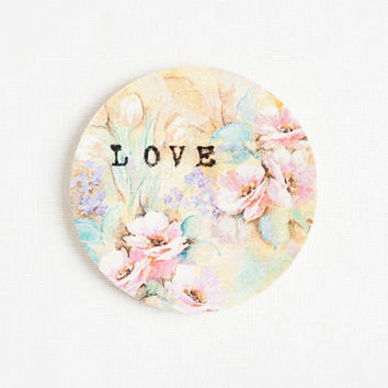 Wooden gift coaster with printed typewriter style text 'LOVE' and pastel floral background - 1 pcs, gift ideas, handmade