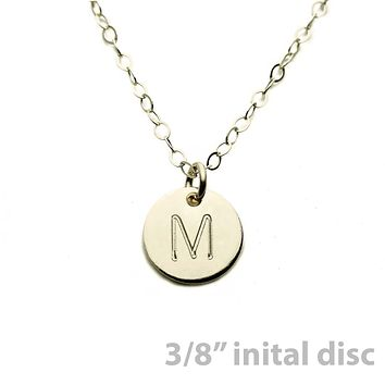 """Gold Necklace Custom Initial Disc - 3/8"""""""