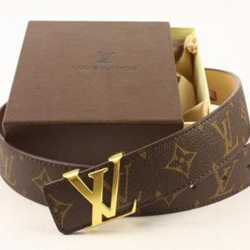LV classic print letters men and women models wild fashion smooth buckle belt