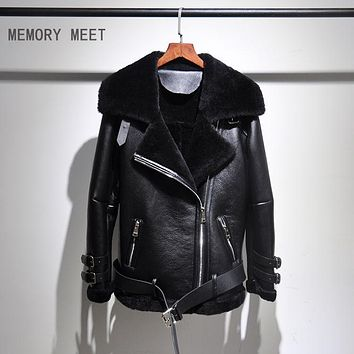 super star unisex shearling genuine leather motorcycle jacket mens thick wool inside natural sheep skin Leather coat for lovers