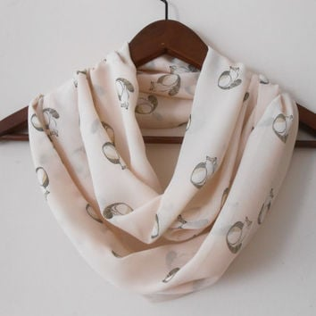 Cat pattern Infinity scarf, Circle Scarf, Loop Scarf, Scarves, Shawls, Spring-Fall-Winter-Summer fashion, Woman Fashion, women's accessories