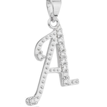 Ladies 925 Sterling Silver 'Letters of the Alphabet' Pendant with Cz Stones and an 18 Inch Link Necklace (A)