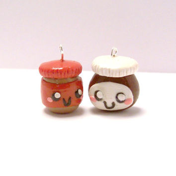 Peanut Butter And Nutella Best Friend Charms / Polymer Clay Charms / Best Friend Charms