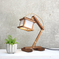 Kran Paus, creative desk lamp, minimalistic lamp, cube lamp, wood wooden geometric lamps, lighting, night desk table working unique, Paladim