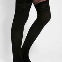 Ribbed Faux Thigh-High Tight
