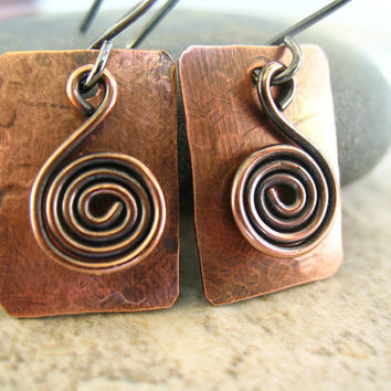Copper Earrings, Mixed Metal Jewelry, Small Rustic Earrings