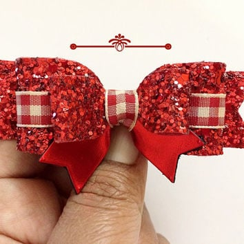 Glitter Bow, Red and beige Gingham Hair Clip, Plaid Bows, Christmas Headband,Red and Cream Glitter Hair clip,baby girl headband,Toddler clip