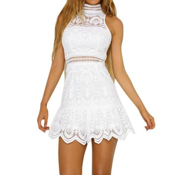 Off shoulder embroidery white lace dress Women high waist turtleneck short dress Elegant casual party dress vestido