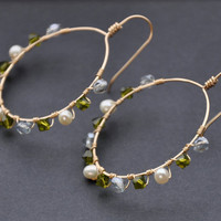 Blue Green Earrings, Crystal Pearl Hoop, Gold Hoops, Wedding Bridal Jewelry