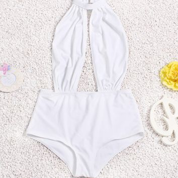 White Halter Backless One Piece Swimsuit B005897