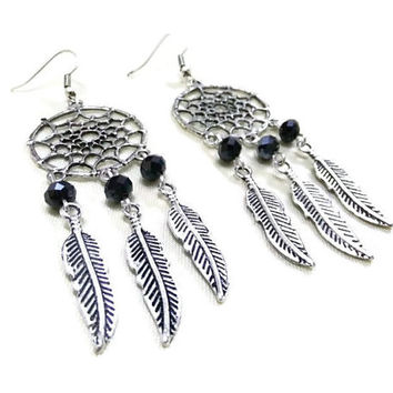 Antique Silver Dream Catcher Earrings with Black Crystals, Feather Earrings, Boho Earrings, Hippie Earrings, Bohemian Earrings, Dreamcatcher