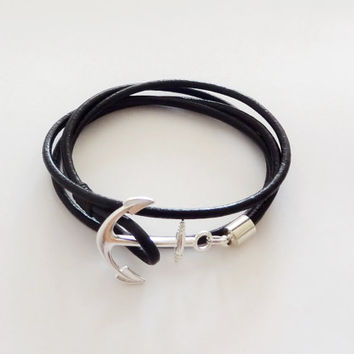 FREE SHIPPING, Anchor bracelet, Leather bracelet,Nautical Leather Fish Hook Bracelet,Wrap bracelet, Unisex, Maritime leather wrap bracelet