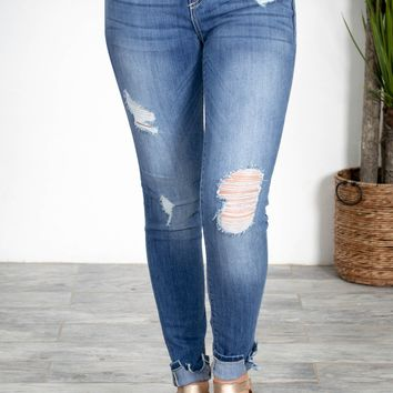 Mid Rise Cropped Light Denim